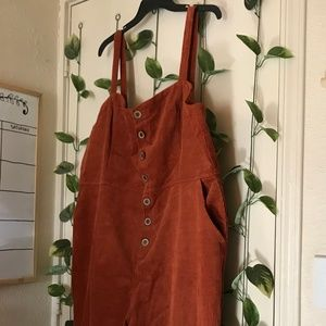 FOREVER 21 button up corduroy overalls